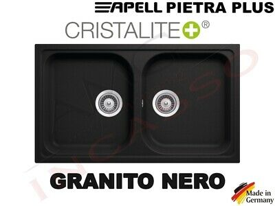 Lavello Fragranite Incasso Cucina Apell PTSH862GB 86X50 2 Vasche Nero