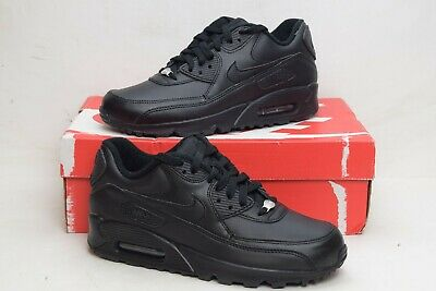 d2cfac0b51 Nike Mens Air Max 90 Authentic Leather Shoes Triple Black 302519-001 Size  6.5
