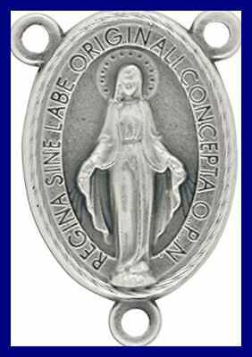 """LOT Of 10 Rosary Center Miraculous Medal Mary Centerpiece For 1"""" Connector"""