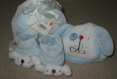 Baby Gift Set Fish And Chips Design Padders/Hat Blue 0-3 Mths Lollipop Lane New