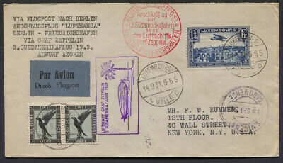 Luxembourg 1931 Zeppelin South America Flight Flown Cover, Pair German 2m