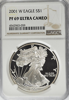 2001 W $1 American Silver Eagle One Ounce Fine Proof Coin  NGC PF69 Ultra Cameo