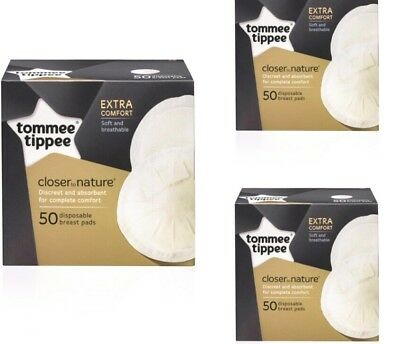 3x Tommee Tippee Closer Nature Maternity Disposable 150 Breast pads