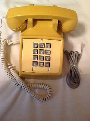 Vintage Bell Western Electric Touch-Tone Desk Phone Rare Yellow 1970's Telephone
