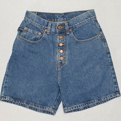 Vintage 90's Pepe Denim Jean Shorts Button Fly Women's Sz 27 High Rise Made USA