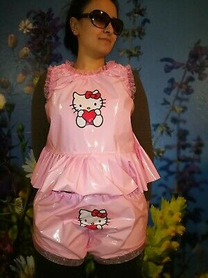 Adult Baby Set Pvc Slips+ Oberteil Gummihose Lack Windelhose Pants Hello Kitty