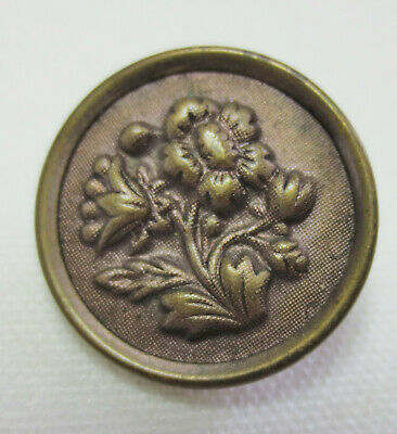 Antique Button Brass Diminutive Raised Embossed DAHLIA FLOWER Tinted Background