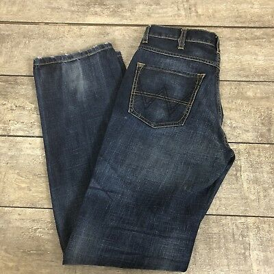 bfe8ae7cede37 Wrangler Men s Jeans Texas Mid Rise Regular Fit Button Fly Blue Distress  W30 L34