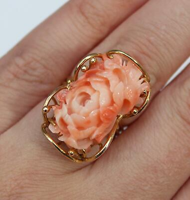 Antique Early 20thC Chinese Carved Angel Skin Coral Flower 14kt Yellow Gold Ring