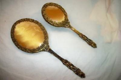 Vintage Filigree Ormolu Leaves Vanity Set Globe Beveled Mirror Mid Century