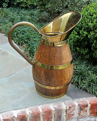 Antique French Country Oak Brass Banded Water Pitcher Wine Jug Umbrella Stand #3