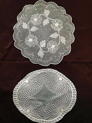 Lot of two Beautiful French Antique HANDMADE DOILIES - TULLE EMBROIDERED