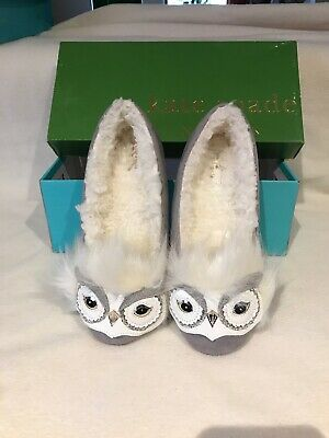 e0aa3814408a KATE SPADE NY SAMANTHA OWL GRAY MICROSUEDE BLING SLIPPERS Size 7
