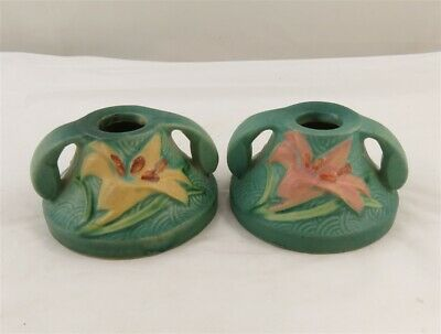 Roseville Pottery Blue Zepher Lily Double Handle Candle Holders 1162-2