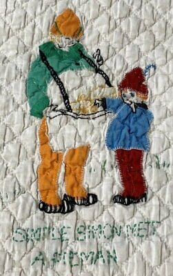 Pictorial Vintage c 30s Nursery Rhymes Applique CRIB Quilt