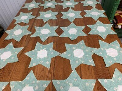 24 Vintage PA 30s Applique STAR s Quilt Blocks Green 13""