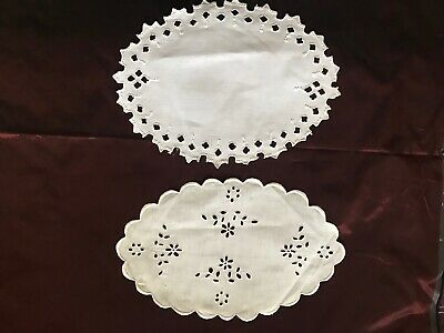 Lot of two Beautiful French Antique HANDMADE DOILIES - ENGLISH EMBROIDERY