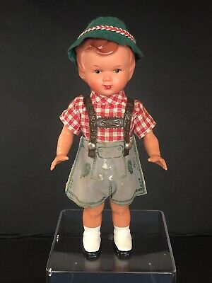 "Antique German Mechanical Wind-Up Boy Doll Lederhosen With Key  7"" tall Vintage"