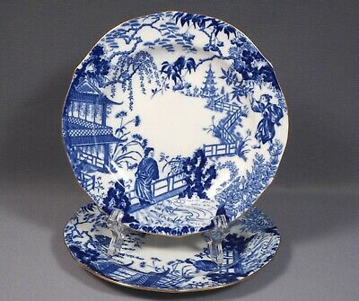 Royal Crown Derby Blue Mikado Salad Dessert LuncheonPlate Blue  Bone china
