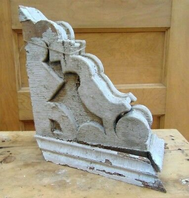 Antique Wooden Corbel Victorian White Distressed Paint-#3