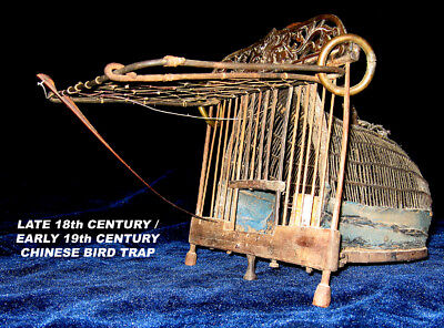 Unusual Handmade 18th (?) -19th CENTURY Asiatic / CHINESE BIRD  / Cage w/CARVING