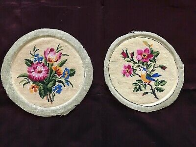 French Antique HANDMADE DOILIES or preliminary work for a purse -PETITS POINTS