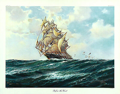 R. MACGREGOR (WILFRED KNOX) Vtg 1944 Halftone Litho Clipper Ship BEFORE THE WIND