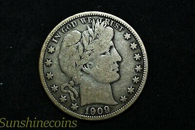 1909 Barber Half Dollar Vg-Fine Condition With Free Shipping**l@@k!