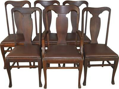 17591 Set of 6 Oak Dining Chairs with Claw Feet