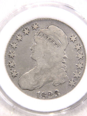 1823 Capped Bust Half Dollar VG Bright with Soft Luster in Airtight Cap #736S