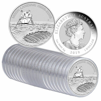 Roll of 20 2019 P 1 oz Silver Apollo 11 Moon Landing GEM BU SKU57688