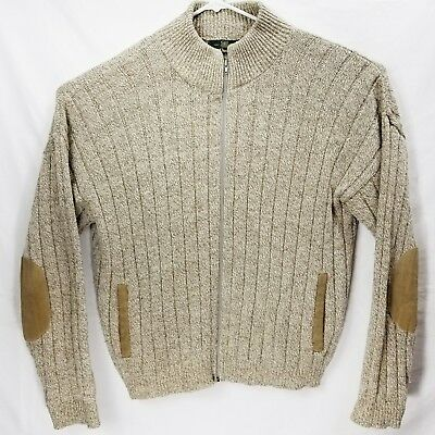 Orvis Sweater Cardigan Men's Large Beige Knit Wool Zip Suede Elbow Patches USA