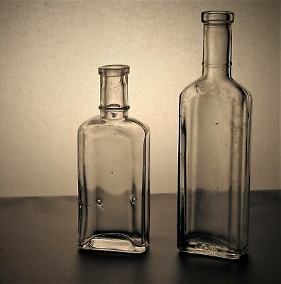 VTG Antique Bottles LOT of 2 Medicine Cures Apothecary Square No damage