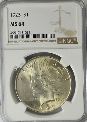 1923 $1 Peace Silver One Dollar MS64 NGC Philadelphia Brilliant Uncirculated