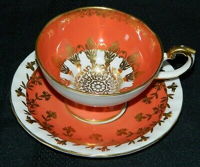 Vintage Aynsley Footed Wide Rimmed Tea Cup & Saucer Coral Pink Gold Overlay