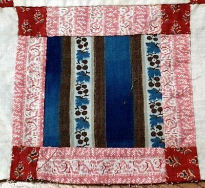 Early c 1830-40s Quilt Top Piece REDs Blues Antique LAST ONE 38""