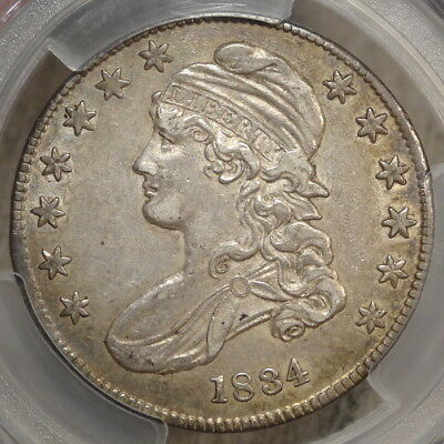 1834 Capped Bust Half Dollar, Small Date & Letters, Extremely Fine+, PCGS XF-45