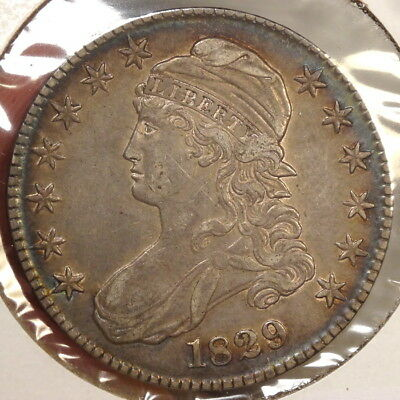 1829 Capped Bust Half Dollar, Choice Extremely Fine, NICE Color!  0825-09