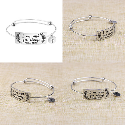 Bangle Bracelet For Girls Inspirational Religious Birthday Gifts Her Stainless S