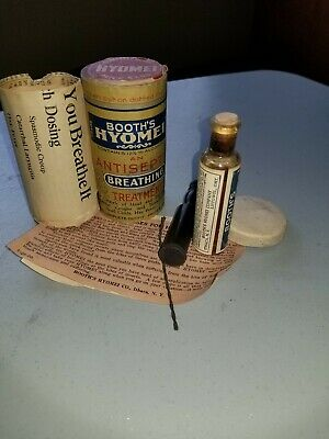 1897 Extremely Rare Antique Vintage Booths Hyomei Inhaler And Meds