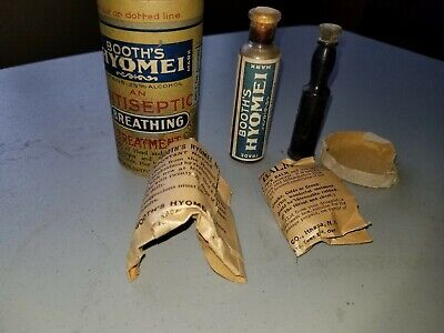 1887 Extremely Rare Antique Vintage Booths Hyomei Inhaler With Meds