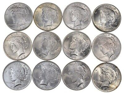 Lot (12) 1923 Peace Silver Dollars - Uncirculated - Part Roll *3110