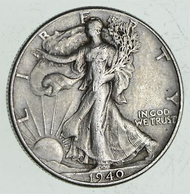 XF+ 1940 Walking Liberty 90% Silver US Half Dollar - NICE COIN *583