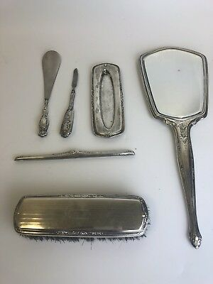 Antique RW&S Sterling Silver 6 Piece Vanity Set, Hand Mirror, Brush Comb + More