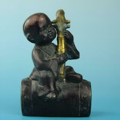 Antique china hand made gilding copper boy pull the erhu statue old collect d01