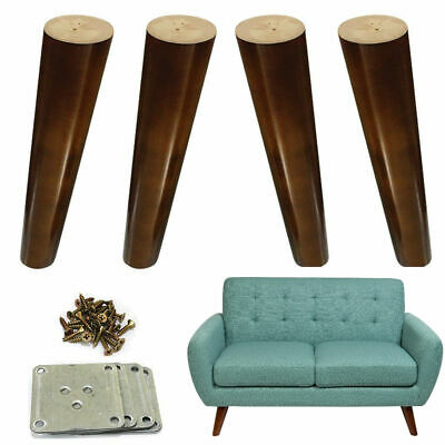 4x Wood Furniture Legs Angled 8 Inch Cabinet Couch Dresser Walnut Finished