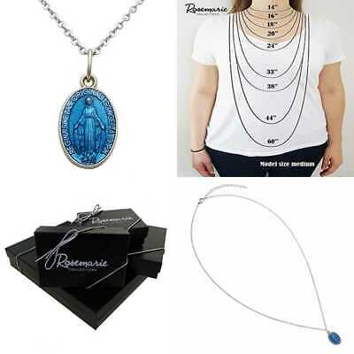 Women's Blessed Mary Religious Pendant Necklace BLUE Enamel Miraculous Medal