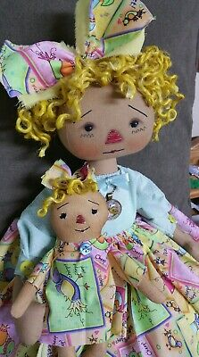 Primitive folk art raggedy ann doll/Easter and Spring everyday doll and dollie.