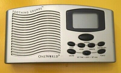 One World Soothing Sounds Portable 4 Sounds Therapy Machine Travel Alarm Clock