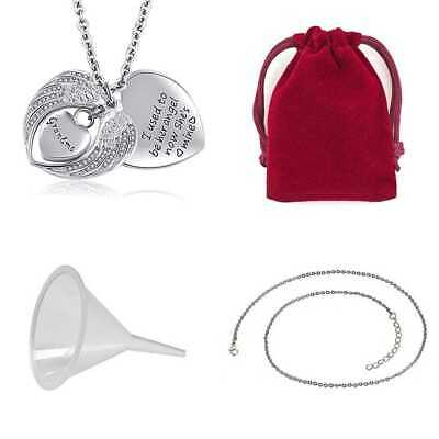 Urn Necklace For Ash Cremation Pendant Angel Wing Love Heart Crystal Dad Mom Gra
